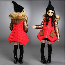 Girls winter coat new warm children down jacket large fur collar cotton padded knitted hooded patchwork