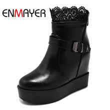 ENMAYER Winter Warm Women Boots  Short Plush Lace Shoes Ankle Round Toe Height Increasing Heel Black White color
