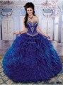 DAQ1692 Frete Grátis! nova Moda Pescoço Namorada Frisado Varredura Organza Doce 15 Vestidos Quinceanera Azul Royal