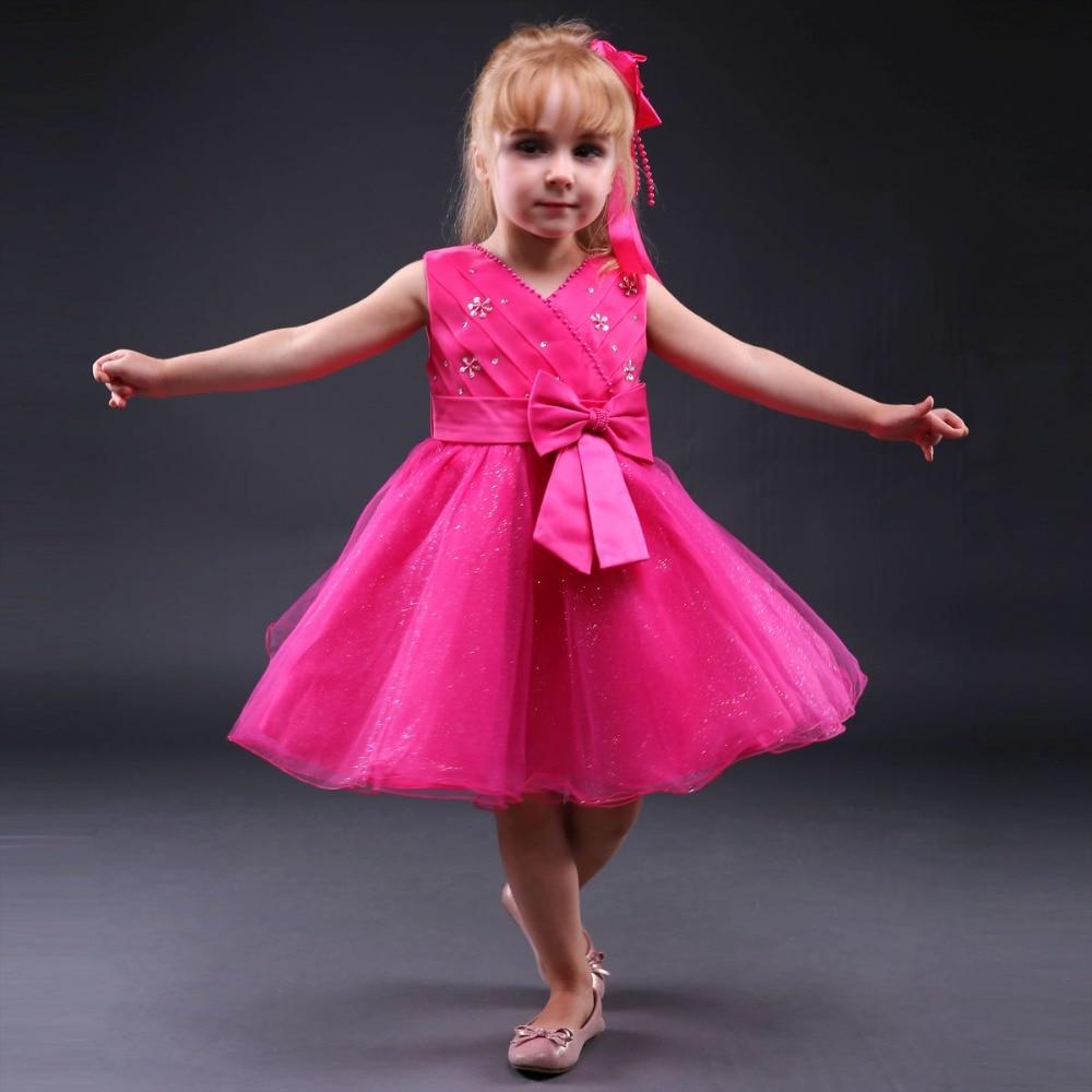 Pettigirl New Design Flower Girls Dresses V Neck With Hot Pink Bow