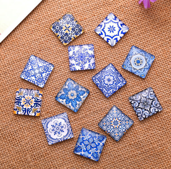 48pcs 10mm Blue and white porcelain pattern a square Handmade Photo Glass Cabochons & Glass Dome Cover Pendant Cameo Settings netac u188 blue and white porcelain pattern usb 2 0 flash drive white blue 4gb