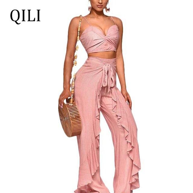 f127453f1df QILI New Summer Women Jumpsuits Romper Short Top+Pants Two Piece Set  Fashion Ruffles Jumpsuit Wide Leg Loose Jumpsuits Suit