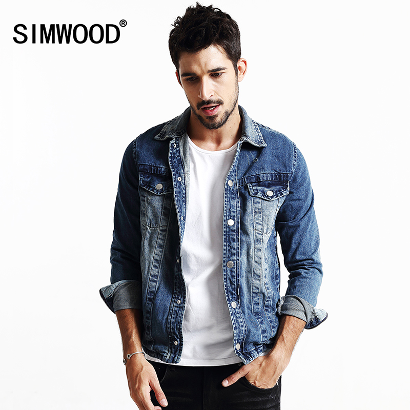 SIMWOOD 2017 New Autumn Winter Fashion Denim Jacket Men Long Sleeve Casual Coats Slim Fit NJ6505