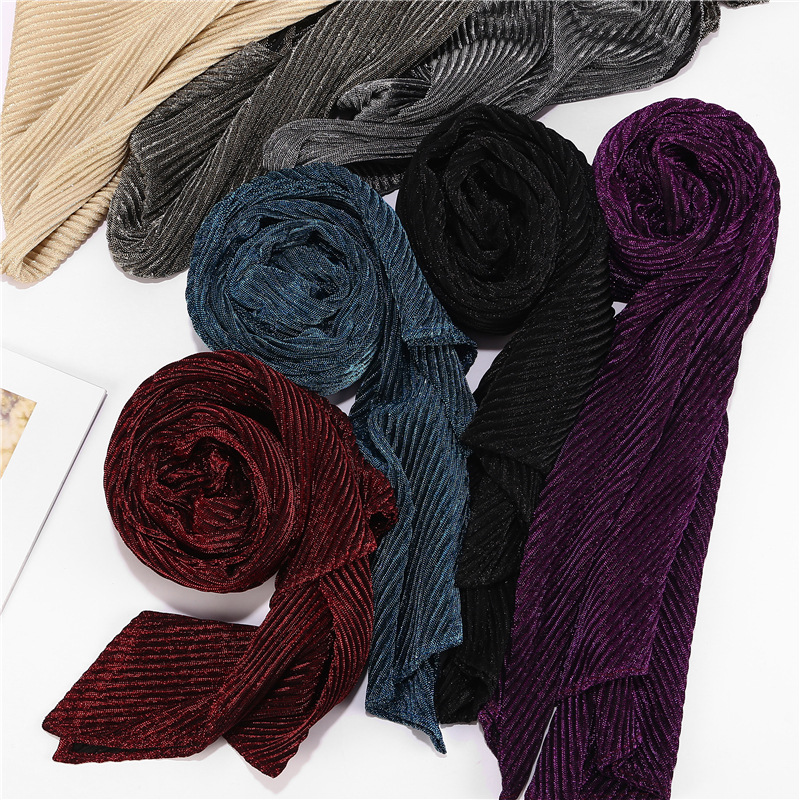 New Wrinkled Scarf Muslim Lurex Glitter Hijabs Wrap Solid Shimmer Long Shawl Islamic Metallic Head Scarf Women Headscarf Muffler