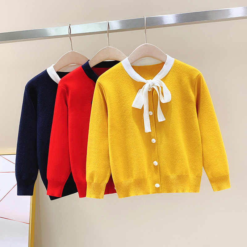 Куртки и пальто для девочек коллекция 2019 года, весенне-осенняя трикотажная верхняя одежда с бабочками, пальто для девочек-подростков от 4 до 14 лет, кардиган, свитер