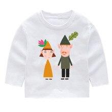 Ben and Hollys Little Kingdom Kids Print Cotton Fashion Long Sleeve T-shirts Tops Baby Girl Harajuku Clothes