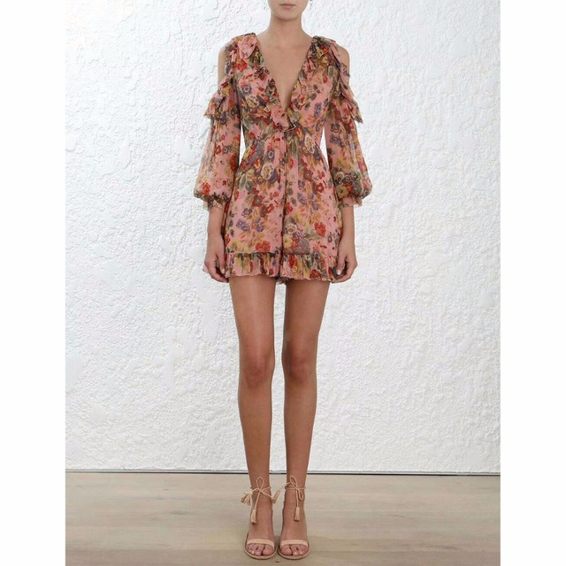 Women Lovelorn Frill Playsuit Cover Up Pink Floral-printed Silk-georgette Crepe Cold-shoulder Sleeve Playsuit