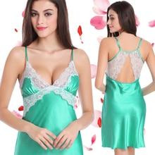 Hot Ladies Sexy Satin Night Dress Lace Women Sleepwear Spaghetti Strap Sleepshirts V-neck Nightdress Sexy Nightgown
