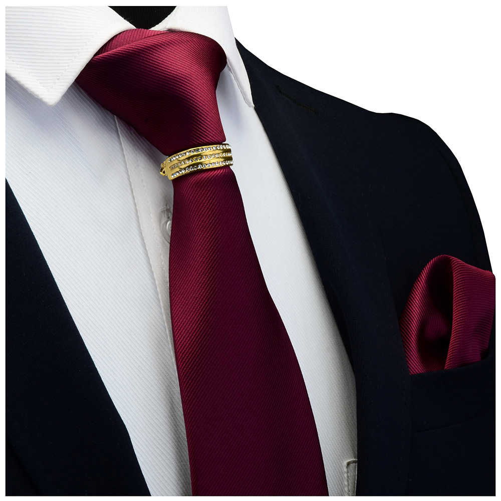 GUSLESON New Designer Solid Plain Men Tie Pocket Square Necktie Clasp Set Red Yellow Green Silk Ties Suit Wedding Business