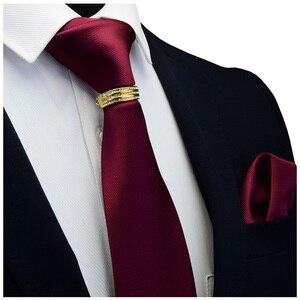 Image 1 - GUSLESON Yeni Tasarımcı Katı Düz Erkek Kravat Cep Kare Kravat Toka Seti Kırmızı Sarı Yeşil ipek kravatlar Takım Elbise Düğün Iş