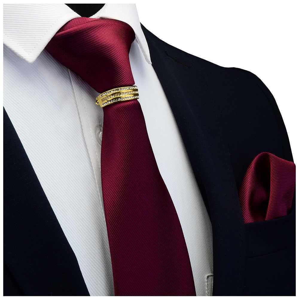 Groleson جديد مصمم الصلبة عادي الرجال التعادل جيب مربع ربطة العنق المشبك مجموعة أحمر أصفر أخضر رباط العنق الحريري دعوى الزفاف الأعمال
