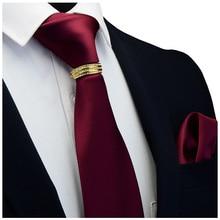Gusleson 새 디자이너 솔리드 일반 남성 넥타이 포켓 스퀘어 넥타이 걸쇠 세트 레드 옐로우 그린 실크 넥타이 정장 웨딩 비즈니스