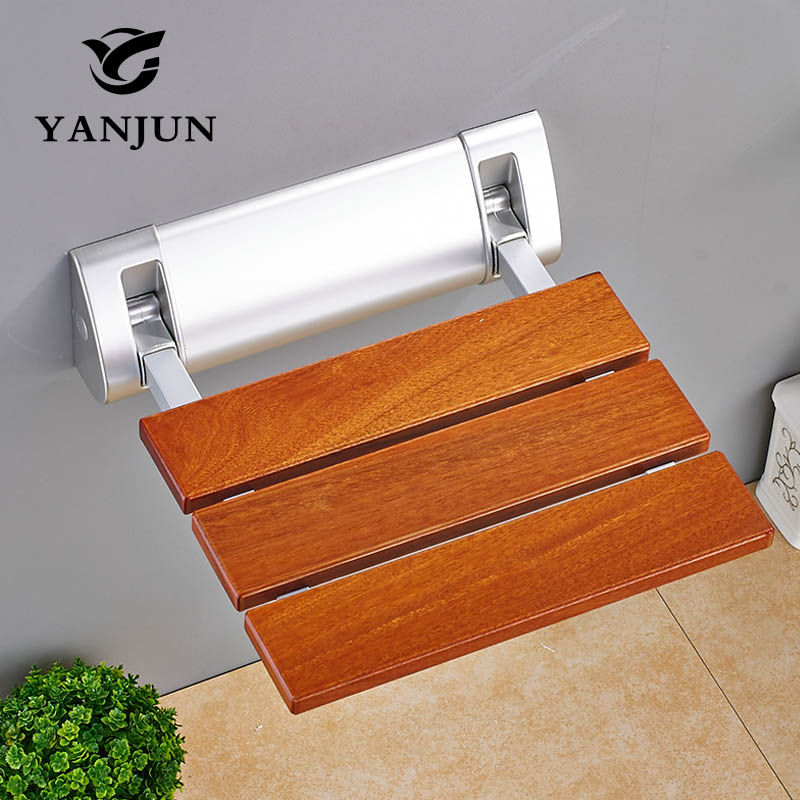 YANJUN Folding Bath Shower Seat  Wall Mounted Relaxation Shower Chair Solid Seat Spa Bench Saving SpaceBathroom  YJ-2040 solid wood folding shower seat spacing saving wall mounted morden seat relaxation folding chair waiting chair wall chair