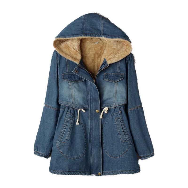 Winter Jacket Women Drawstring Cotton Denim Parka Hooded Jackets Plus Velvet Thick Cowboy Padded Coats Jaqueta Feminina C3186 парка бежевая