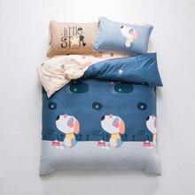 2018 Cartoon Cute Dogs Grey Bedding Set Soft Cotton Fabric 4Pcs Queen Ru Europe Size Duvet Cover Flat Sheet Pillow Cases