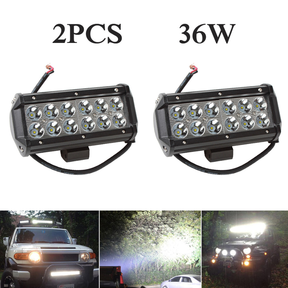 ФОТО 2pcs! 7 Inch 36W Car LED Work Light Bar Spot / Flood Off road Worklight for Auto Offroad SUV ATV Boat Truck Driving Lamp