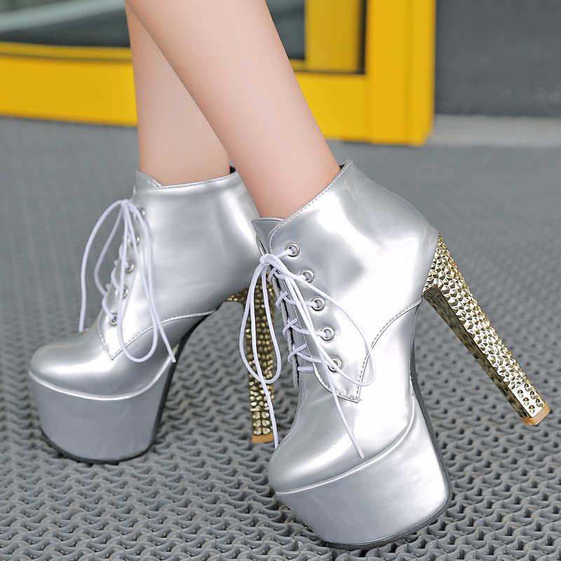 Nieuwe 15cm super hoge hakken Laarzen vrouw platform lace up enkellaars dames jurk bruiloft schoenen zwart wit rood zilver