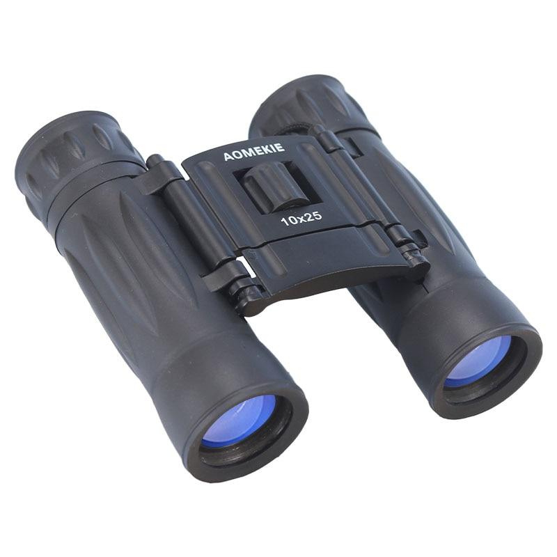 Aomekie Kompaktní kovový 10x25 dalekohled Optický objektiv skládací HD Outdoor kempování Lovecký dalekohled s krčkem Kid Přátelský dárek