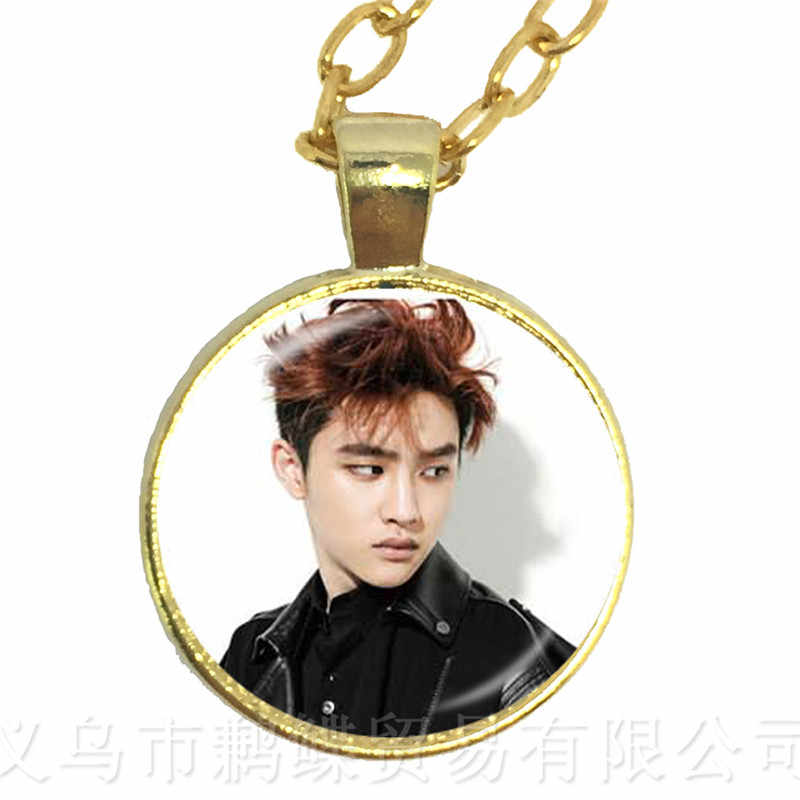 Hot KPOP EXO Necklace EXO Member Figure 25mm Glass Cabochon Charm Pendant Sweater chain For Fans Support Jewelry Gift