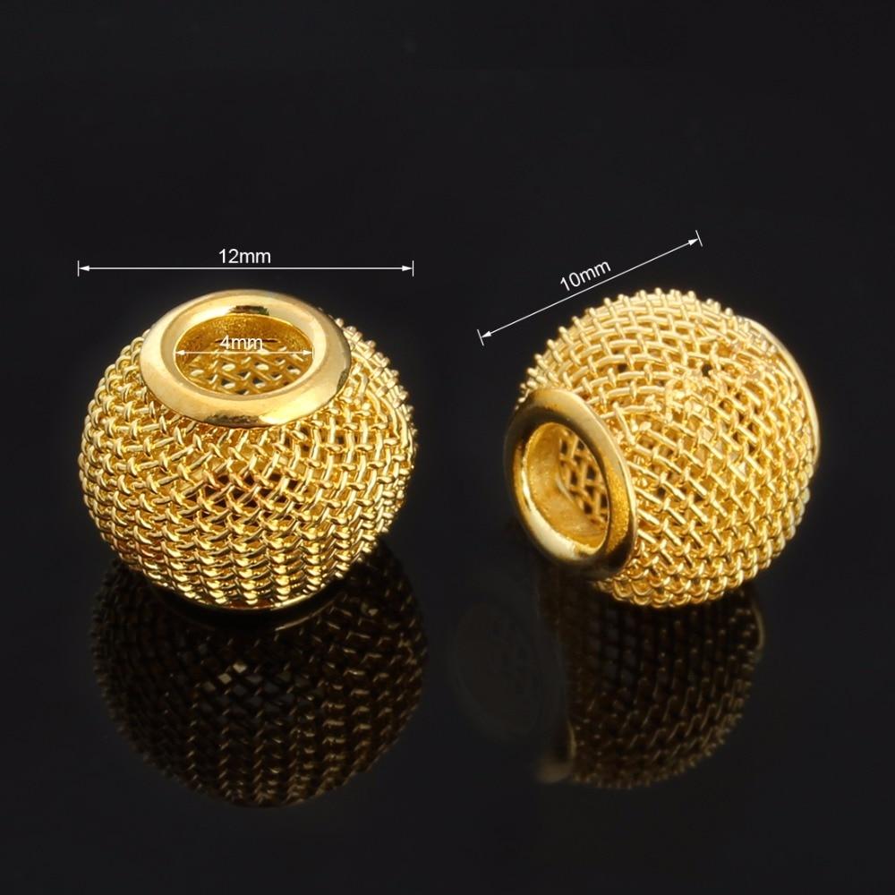 03c82e5d6a323 LINSOIR 10 قطعة الوحدة شبكة معدنية الخرز لصنع المجوهرات الذهب اللون كبيرة  كبيرة حفرة خزر عازل يناسب أساور يدوية قلادة F1143