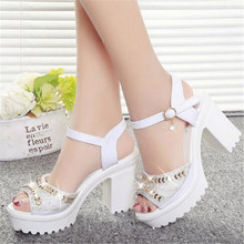 2018 summer new high-heeled women's sandals thick with rhinestone waterproof platform buckle large size women's sandals