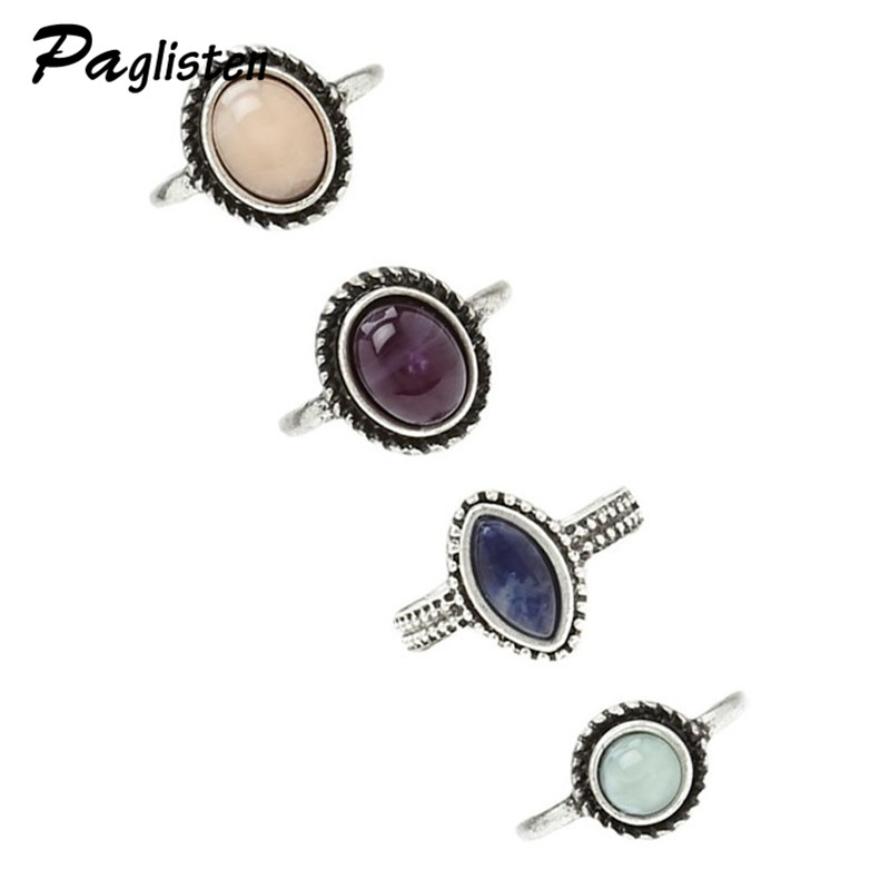 PAGlisten 4Pcs Set Antique Silver Color Bohemian Midi Ring Vintage Steampunk Anillos Knuckle Rings For Women