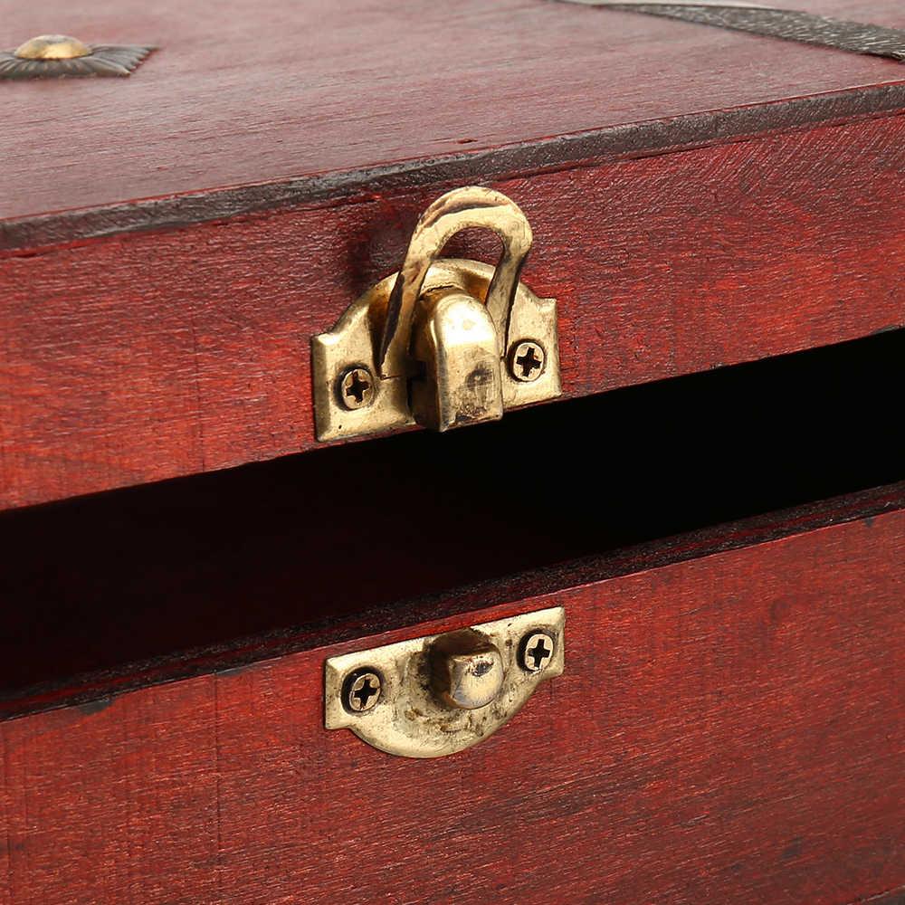 Hot Vintage ไม้ล็อคสมบัติหน้าอกเครื่องประดับจัดเก็บกล่องกรณีแหวนของขวัญ
