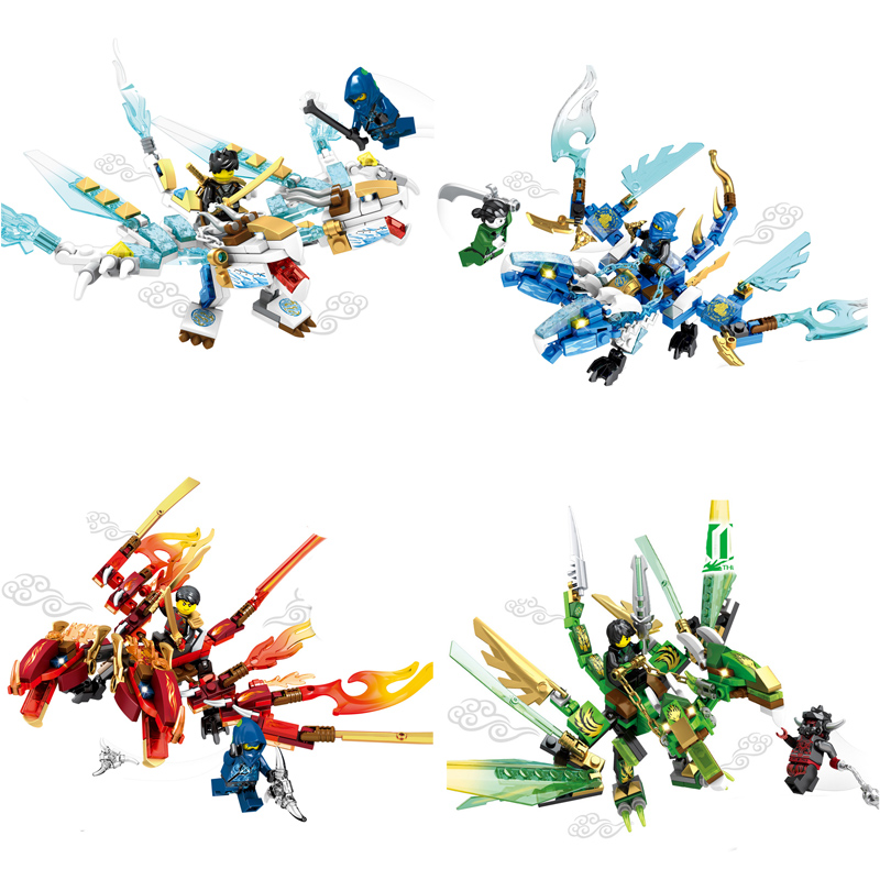 4pcs/set Ninjago Building Blocks Brick Sets Attack of the Morro Dragon Compatible LEPIN Building Blocks Bricks Toys For Children lepin 02012 city deepwater exploration vessel 60095 building blocks policeman toys children compatible with lego gift kid sets