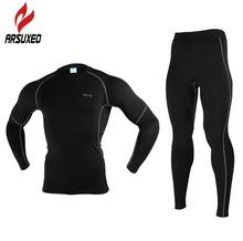 NEW ARSUXEO Men Winter Thermal Warm Up Fleece Compression Cycling Base Layers Shirts Running Sets Jersey Sports Suits