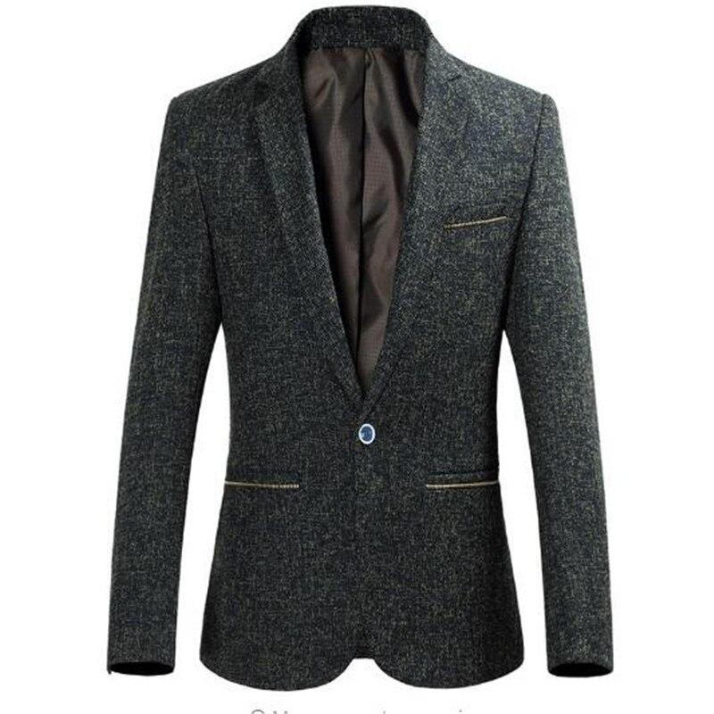 Livraison gratuite 2018 hommes luxe Blazer mode simple bouton hommes Slim Fit décontracté affaires robe costumes mâle noir manteau