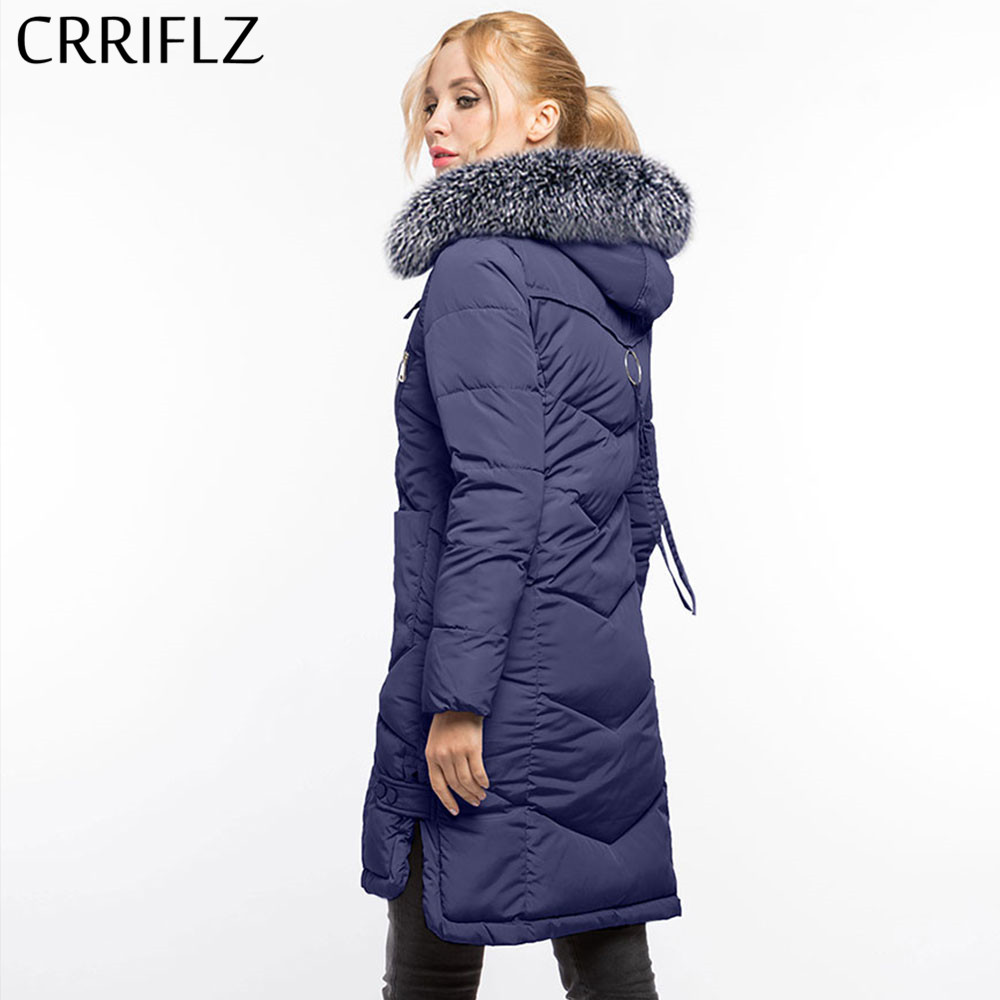 Fashion Woman's Fur Coat Warm Winter Jacket Long Women Hooded Coat Down   Parkas   Female Outerwear CRRIFLZ Winter Collection