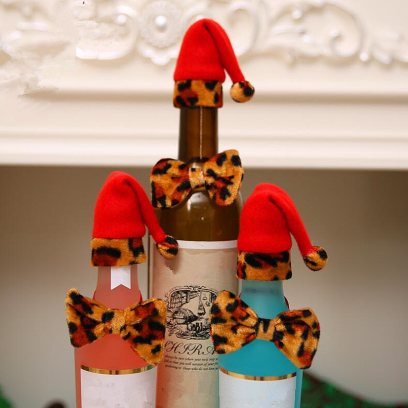 Christmas Leopard Bow Tie Wine Bottle Cover Bags Santa Claus Hat Bottle Covers Christmas Decoration Home Party Decor