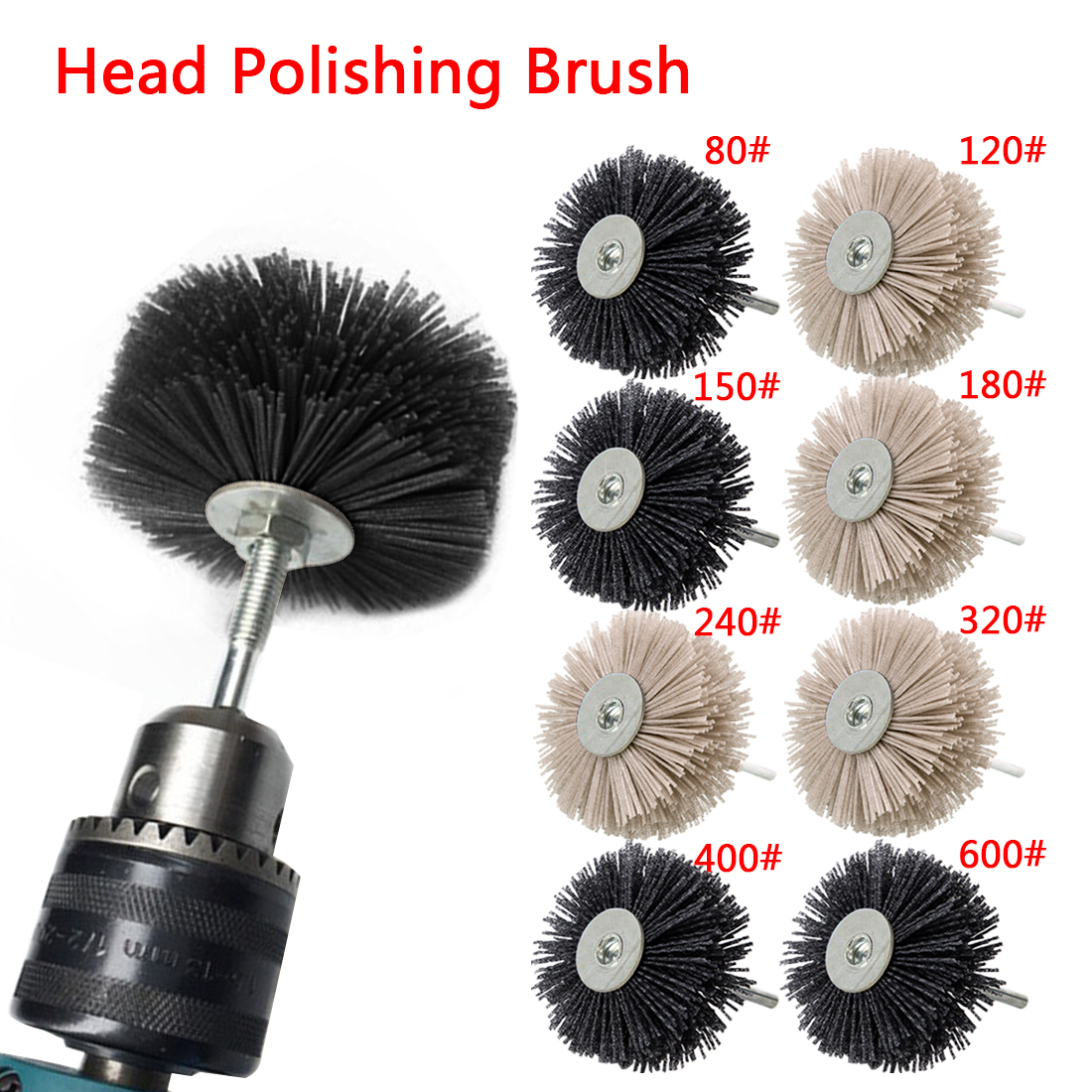 OD 80mm Drill Flower Head Abrasive Wire Grinding Wheel Nylon Bristle Polishing Brush For Wood Furniture Mahogany Finish