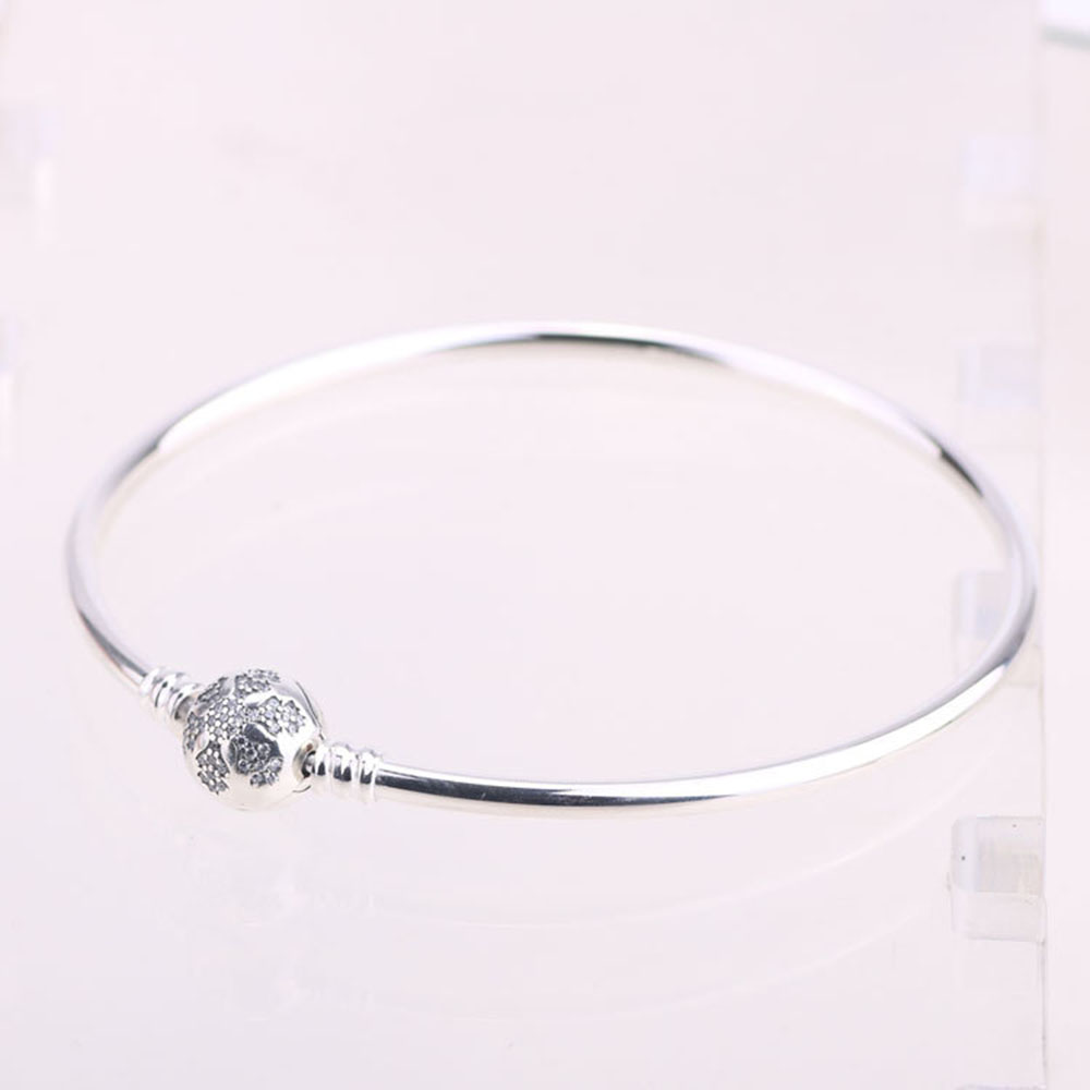 Authentic 925 Sterling Sliver Snowflakes Crystal Clasp Clip Basic Bracelet Bangle With Logo Fit Women DIY Bead Charm