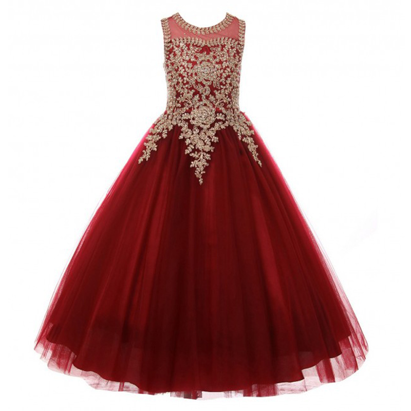 burgundy little girls pageant dress gold applique kids ball gowns for children fancy prom party dress