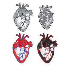 1PC Heart Punk Patch Biker Rock Iron On Motorcycle Jacket Back Big Patches Cheap Embroidered Large Patches For Clothing Jeans(China)
