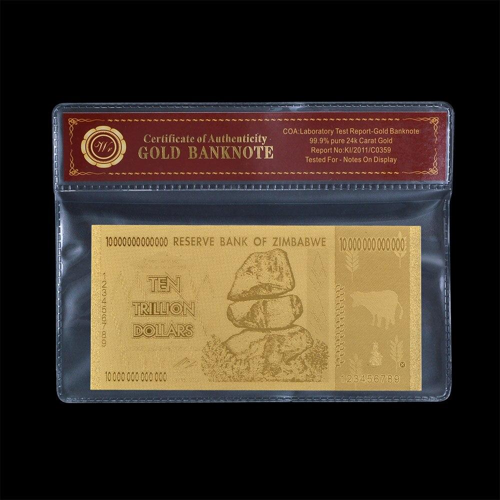 Altın Folyo Banknot Oyma Zimbabve 20 Trilyon Dolar Ile orijinallik Sertifikası