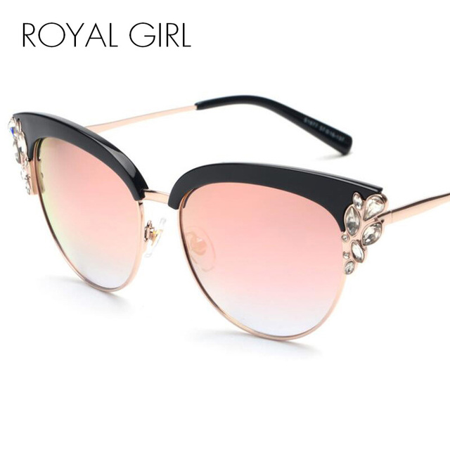 ROYAL GIRL Exaggeration Cat Eye Sunglasses Women Brand Designer Half Frame  Diamante Sun Glasses Summer Style oculos de sol SS224 74f5ba2622