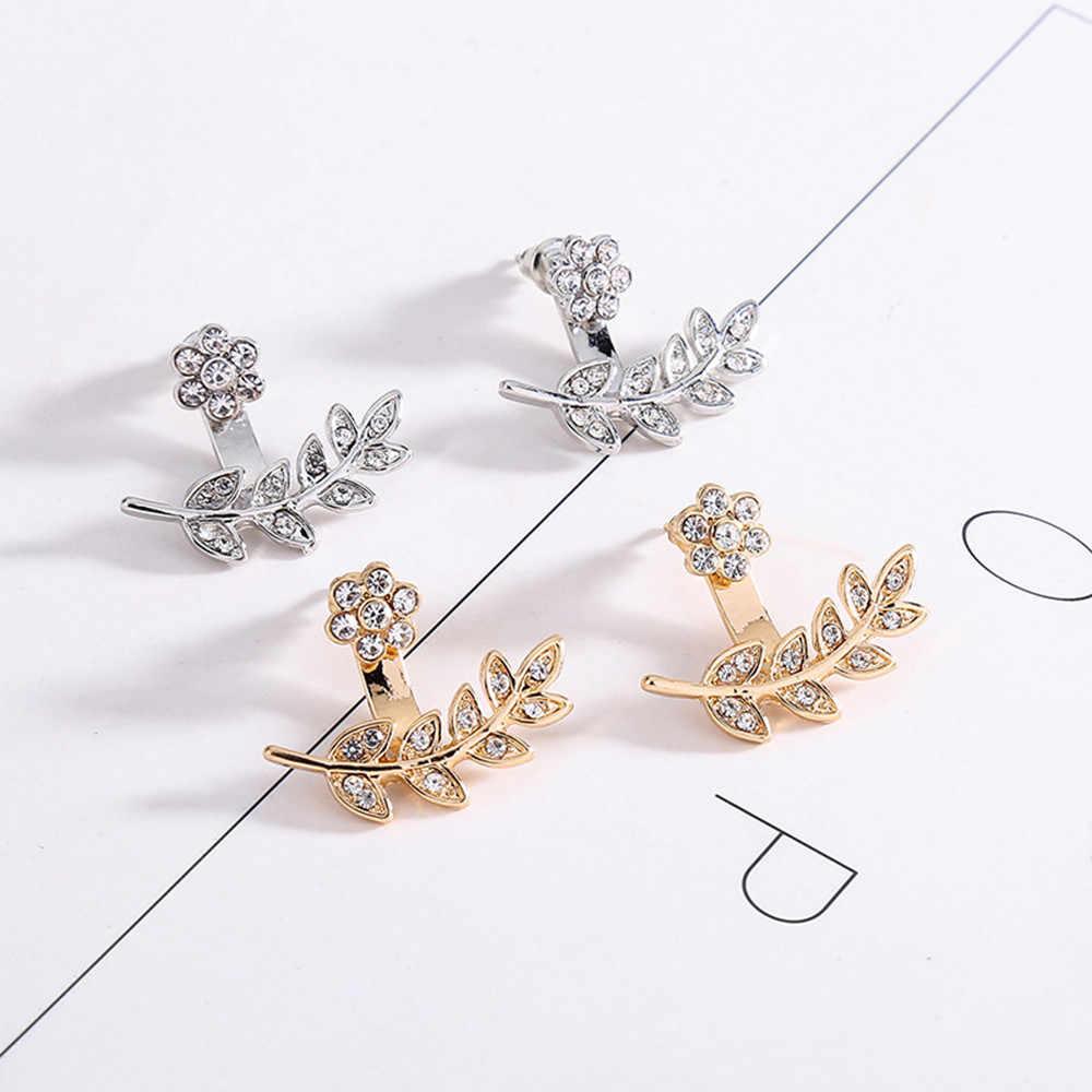 Susenstone сливы Дизайн Двусторонняя серьга цветы листья кристалл серьги гвоздики