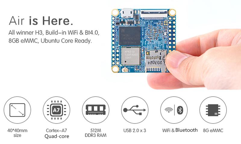 Details about NanoPi NEO Air Onboard Bluetooth Wifi Allwinner H3  Development Board IoT