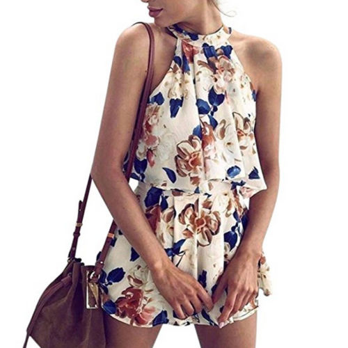 Women Holiday Casual Mini Playsuit Ladies Jumpsuit Fashion New Chiffom Floral Romper Summer Beach Halter Shorts