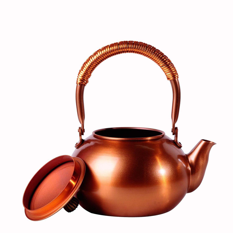 2018 tetera de hierro fundido sin recubrimiento juego de té de Kung Fu japonés hecho a mano olla de cobre púrpura de Japón con filtro venta caliente 1200 ML - 3