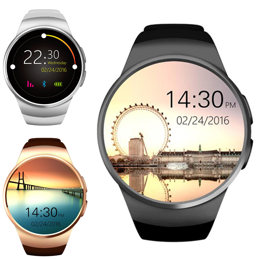 KW18 1.3 pouces cadran rond Smartwatch téléphone MTK2502 IPS écran podomètre rappel sédentaire BT4.0 moniteur de fréquence cardiaque montre
