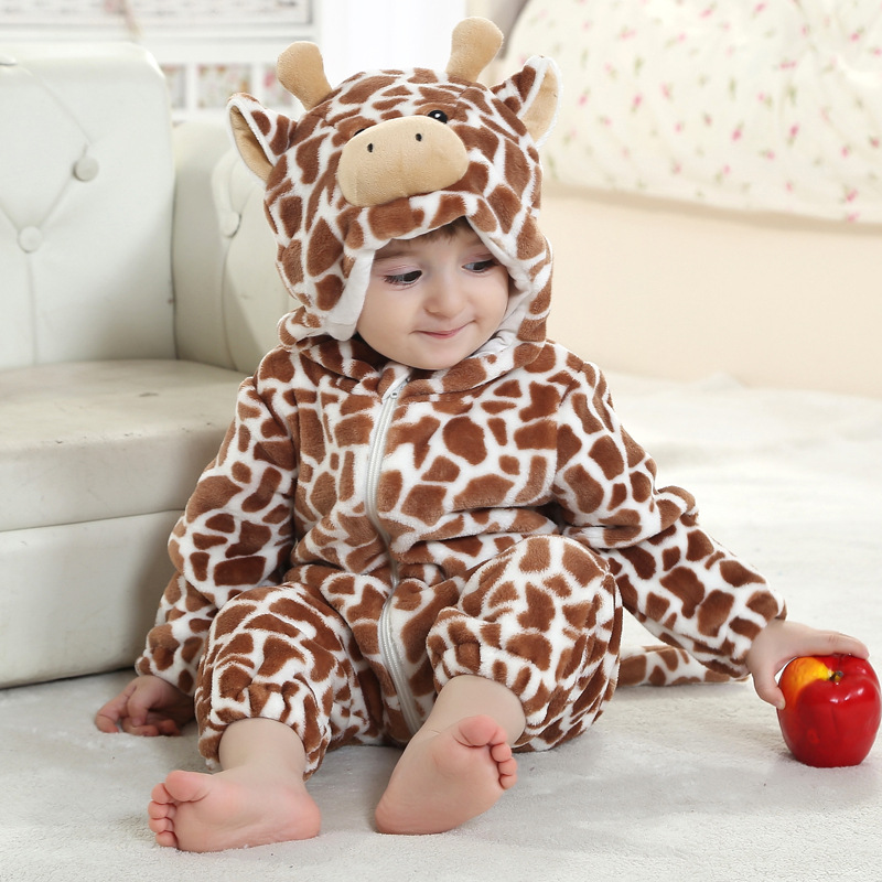 Baby Boy Girl Hooded Rompers Animal Cosplay Costume Newborn Infant Jumpsuit Coffee Cow Clothes