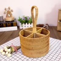 Hand woven Wicker Straw Storage Basket Portable Round Four Compartment Classification Storage Fruit Basket Home Storage