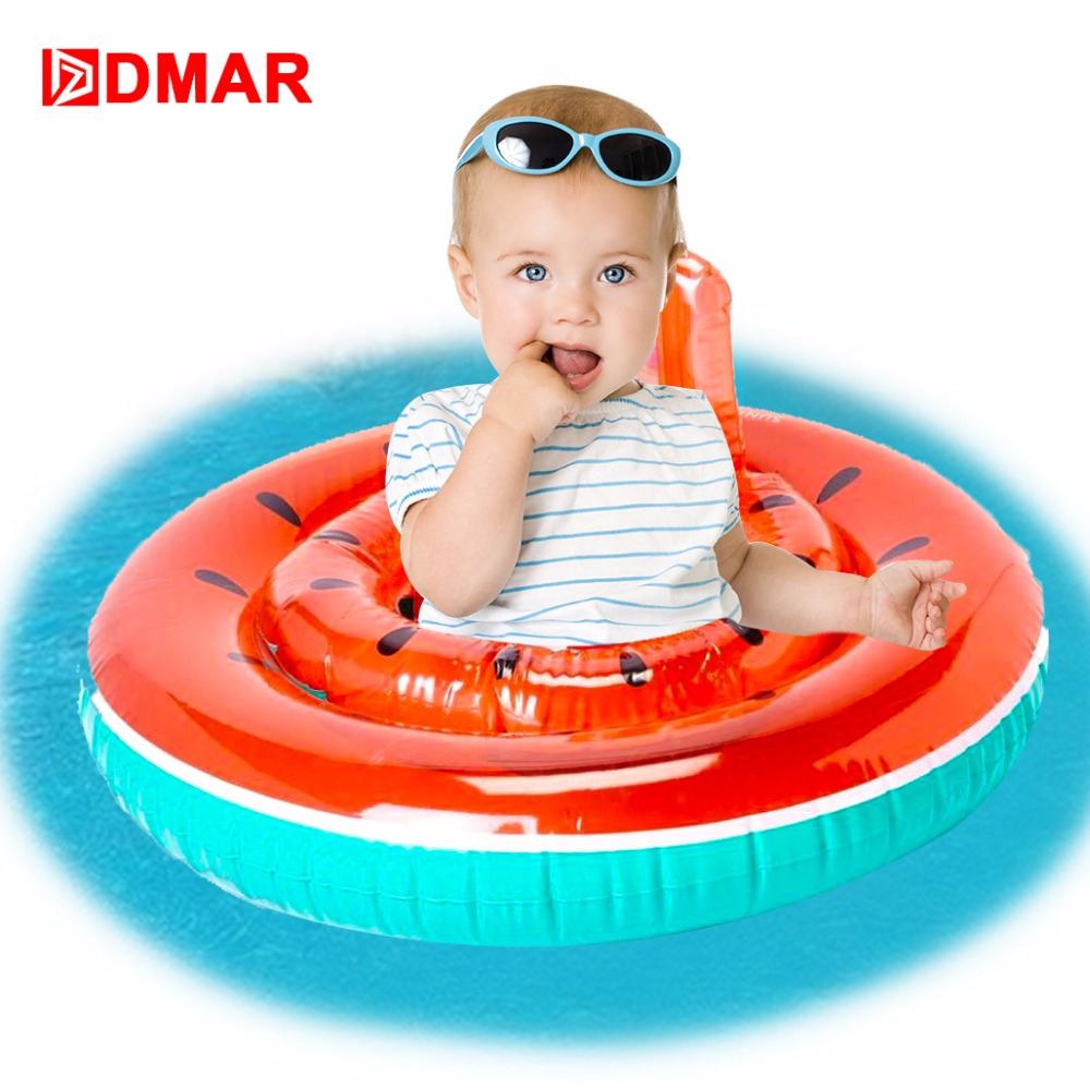 DMAR 62cm Inflatable Watermelon Kids Pool Float Toys for Infants Baby Swimming Sit Ring Circle Beach Mattress Sea Party Flamingo