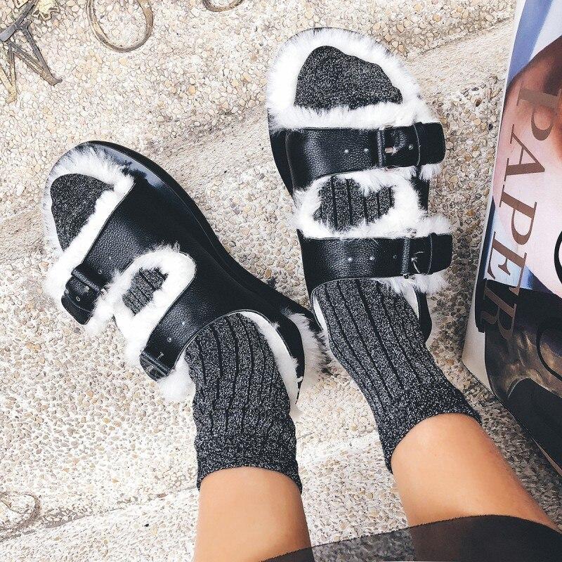En Épais Sandales Fond Prova Noir Récent Gladiateur Chaussures Bout Cuir Laine À Hiver Fourrure Occasionnels Femmes Automne Ouvert Perfetto Véritable xq7XFBqwv