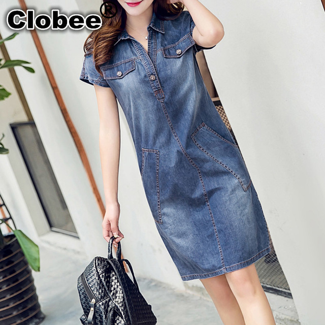 clobee 2017 denim dress plus size women clothing blue