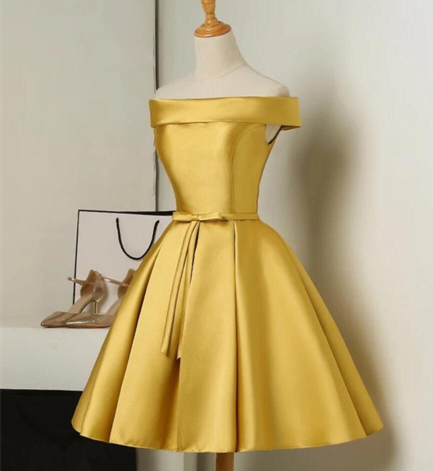 SuperKimJo Robe Demoiselle D'honneur pas cher robes de Demoiselle D'honneur courte 2020 or hors de l'épaule Robe de mariée personnalisée