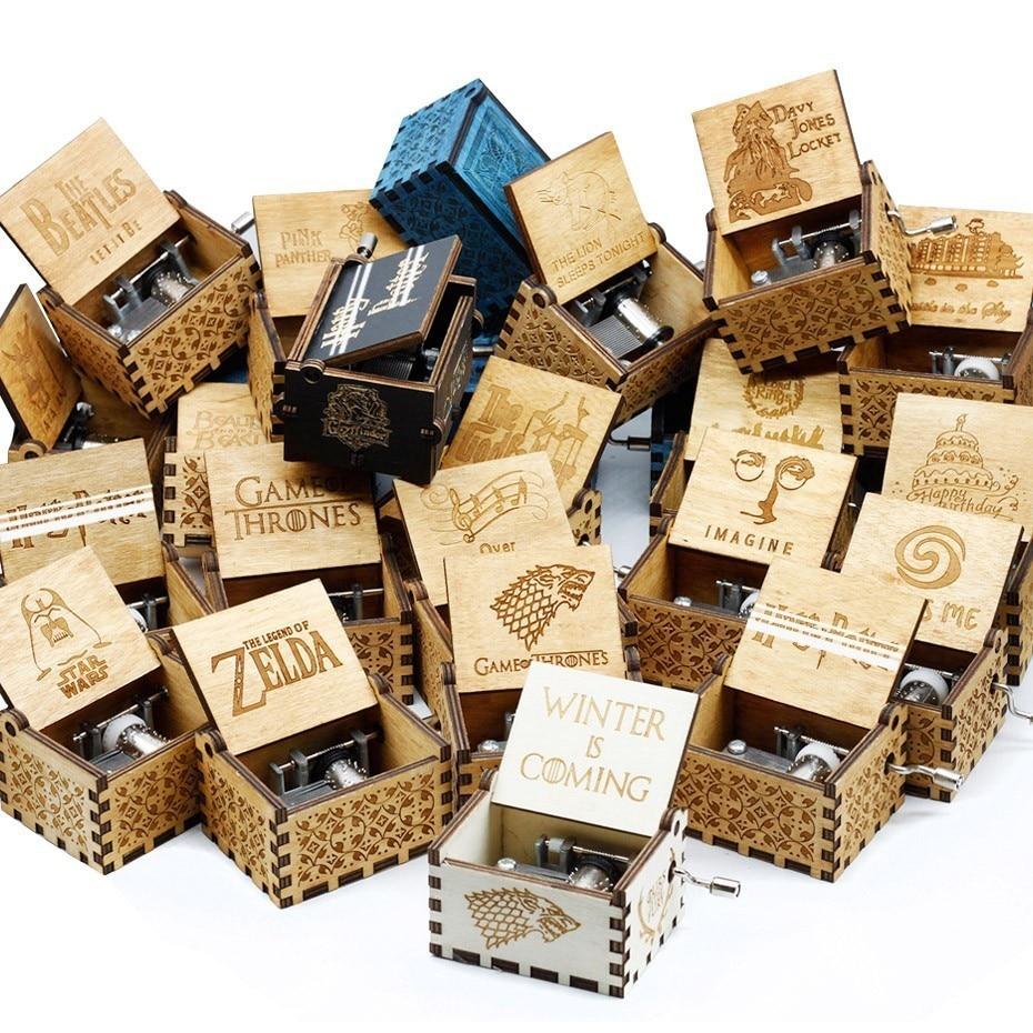 Оптовая продажа антикварная резная деревянная рукоятки Музыкальная шкатулка Рождественский подарок на день рождения Шкатулка анонимност...
